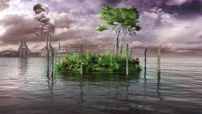 Fenced small green island Royalty Free Stock Photo