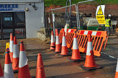 Fenced are at Swanage stabilisation works. Image 3 of 7 regarding the ground stabilisation works and to provide new beach huts, toilets Stock Images