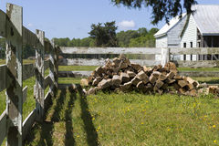 Fenced In Wood Pile Royalty Free Stock Photo