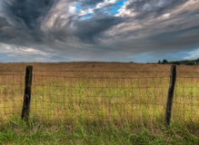 Fenceline and Dramatic Clouds. Encloses golden field Stock Images