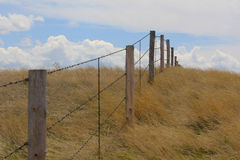 Fenceline in a grassland. A barbed wire fence on a range in Wyoming royalty free stock photos