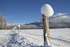 Fenceline with snow. And HooDoo Mountain, Bonner County, ID Stock Photo