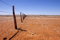 Fenceline in Outback Australia Stock Photos