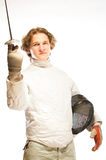 Fencer. With rapier isolated on white royalty free stock photography