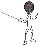 Fencer. Vector cartoon illustration of boy or a girl in a fencing clothing Royalty Free Stock Photography