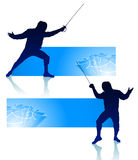 Fencer on Abstract Banners Royalty Free Stock Photos