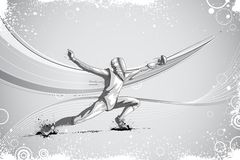 Fencer Attacking with Rapier Foil Stock Photo