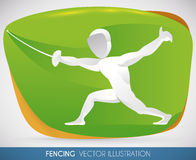 Fencer doing a Lunge in Summer Sport Event, Vector Illustration. Fencer counterattacking with a forward thrust in fencing sport event Royalty Free Stock Images