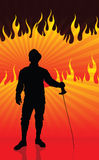 Fencer on Fire Background Royalty Free Stock Photo