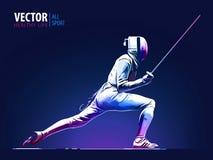 fencer Hombre que lleva cercando el traje que practica con la espada Arena deportiva y lense-llamaradas Efecto de neón Ilustració ilustración del vector