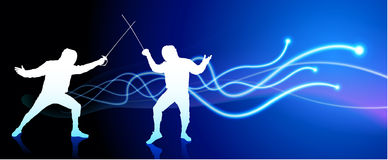 Fencer on Light Spark Abstract Background Stock Images