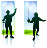 Fencer on Nature Banners Stock Photo