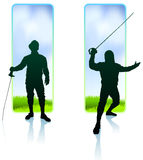 Fencer on Nature Banners Royalty Free Stock Image