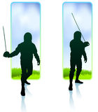 Fencer on Nature Banners Stock Photography