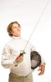 fencer смотря rapier Стоковые Изображения