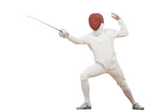 Fencer with rapier foil. Fencing fencer in protective sport wear attacking with rapier foil isolated royalty free stock photos
