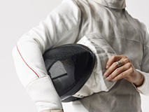 Fencer ready to compete stock photography