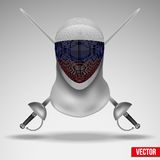 Fencer sword and mask with russia flag. Royalty Free Stock Photos