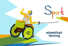 Fencer On Wheel Chair Disabled Athlete Fencing Sport Competition Royalty Free Stock Photography