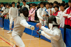 Fencers in action Royalty Free Stock Photo