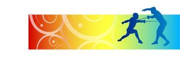 Fencers illustration. Illustration of two fencers on color border Stock Illustration