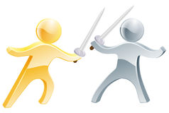 Fencers. Two fencers fencing with swords, one gold person, one silver Royalty Free Stock Images