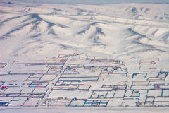 Fences. Aerial view of fenced properties in Ulaanbaatar Mongolia Stock Images