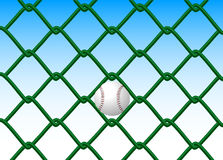 Fences and ball. Underpaid ending past the green fence Vector Illustration