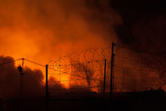 Fences with barbed wire, storage fire Stock Photography