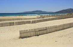 Fences in the beach of tarifa, Cádiz Stock Photography