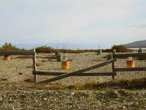 Fences on the beach. Fences on the beach in Tolhuin, Argentina Stock Photos