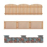 Fences collection wooden stone and plastic fence vector illustration