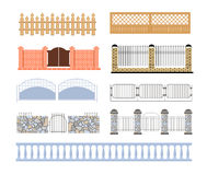 Fences Of Different Materialls Set  Designs Royalty Free Stock Image