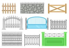 Fences of different structures and materials set, protective barrier for farm, house, garden, park vector Illustrations royalty free illustration