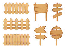 Fences of garden and signs with wood texture. Vector illustration set isolate on white Royalty Free Stock Image