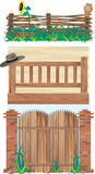 Fences and Gate. An illustrated set of different wooden fences and a huge gate Stock Photos