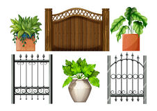 Fences and plants. Illustration of the fences and plants on a white background Stock Image