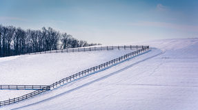 Fences on a snow covered farm field in rural Carroll County, Mar Royalty Free Stock Photo