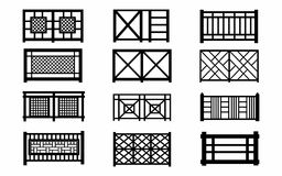 Fences wooden icons Stock Photography