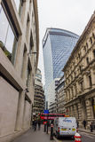Fenchurch in the city and red bus Stock Image