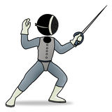 Fencing. Silhouette-man sport icon - fencing player Stock Photography