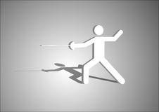 Fencing. Athletics diagram mark, there is born calculator under the background of the shallow color stock illustration