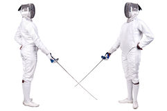 Fencing. Athletes isolated in white stock photo