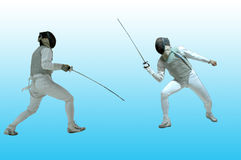 Fencing. Two fencing players on the blue background royalty free stock images