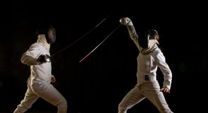 Fencing action Royalty Free Stock Photography
