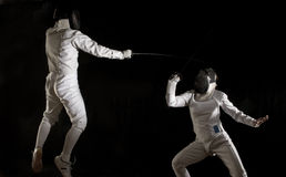 Fencing action - a leap! Stock Images