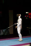 Fencing. Aida Shanaeva appeales to referees Stock Photos