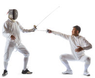 Fencing athletes or players isolated in white background Royalty Free Stock Photo