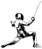 Fencing attacking man Stock Images