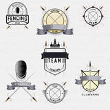 Fencing badges logos and labels for any use. Fencing badges logos and labels can be used to fashion design, signs for sports clubs, sales Royalty Free Stock Image
